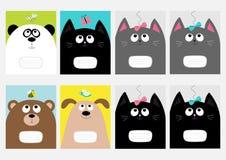 Molde do livro da composição da tampa do caderno Gato do bebê, panda, cão, cabeça da vaquinha do urso Curva, borboleta, libélula, Foto de Stock Royalty Free