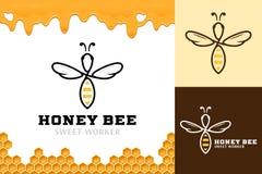Molde do logotipo da abelha do mel do vetor Ilustração do Vetor