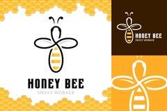 Molde do logotipo da abelha do mel do vetor Ilustração Royalty Free