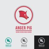 Molde do logotipo da carne de porco do porco da raiva Fotografia de Stock