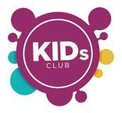 Molde do logotipo da zona das crianças de sorrisos e de letras de sorriso da cara das mãos da palma da criança Fotos de Stock