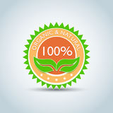 ` molde do logotipo de Eco do ` do produto orgânico & natural de 100%, bio etiqueta com projeto retro do vintage Ilustração verde Ilustração do Vetor