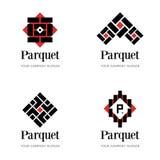 Molde do logotipo do parquet Molde do logotipo do revestimento Moldes abstratos do projeto do logotipo para a empresa do parquet, ilustração do vetor
