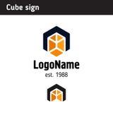 Molde do logotipo sob a forma de um cubo Fotos de Stock