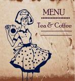 Molde do menu com empregadas de mesa retros e café ou chá Imagens de Stock Royalty Free