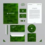 Molde do negócio da identidade corporativa O estilo da empresa ajustou-se em tons verdes com teste padrão transparente das telhas Imagens de Stock