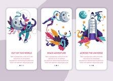 Molde do página da web do Internet da viagem do cosmos da exploração do espaço ilustração royalty free