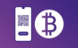 MOLDE DO PÁGINA DA WEB DO PROJETO varredura agora e para obter o dinheiro projeto do bitkoin Bandeira Design Molde da cor currenc ilustração stock