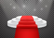 Molde do pódio do vetor pódio realístico do vencedor do vetor 3D com tapete vermelho Fotografia de Stock Royalty Free