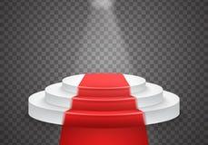 Molde do pódio do vetor pódio realístico do vencedor do vetor 3D com tapete vermelho e luz brilhante Imagens de Stock