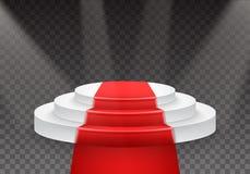 Molde do pódio do vetor pódio realístico do vencedor do vetor 3D com tapete vermelho e luz brilhante Foto de Stock