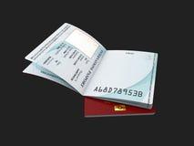 Molde do passaporte com a página pessoal dos dados da amostra, ilustração 3d Fotografia de Stock Royalty Free