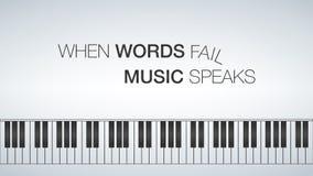 Molde do piano, ilustração criativa do conceito da música Motivador 16x9 Quando a música da falha das palavras falar ilustração stock