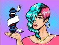 Molde do projeto do anúncio do barbeiro do pop art do vintage do vetor Fotos de Stock Royalty Free