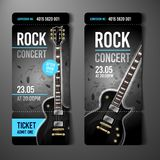 Molde do projeto do bilhete do concerto de rocha da ilustração do vetor com guitarra preta ilustração stock