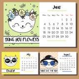 Molde do projeto do calendário do gato da garatuja calendário 2018 com mão engraçada caráteres tirados dos gatos do estilo verão ilustração stock