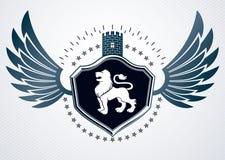 Molde do projeto da heráldica do vintage, emblema do vetor Fotos de Stock Royalty Free