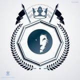 Molde do projeto da heráldica do vintage, emblema do vetor criado com o lau Imagens de Stock