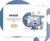 Molde do projeto da página da aterrissagem do Web site do vetor de espaço ilustração do vetor