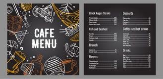 Molde do projeto da página do menu dois do café com lista de carne, de peixes, de hamburgueres, de bebidas, de café e de sobremes ilustração royalty free