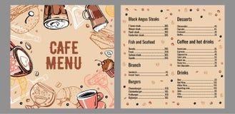 Molde do projeto da p?gina do menu dois do caf? com lista de carne, de peixes, de hamburgueres, de bebidas, de caf? e de sobremes ilustração stock