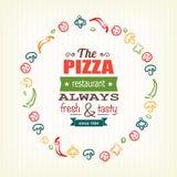 Molde do projeto da pizza para o menu, a bandeira, anunciando etc. Imagens de Stock Royalty Free