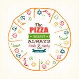 Molde do projeto da pizza para o menu, a bandeira, anunciando etc. ilustração royalty free