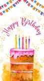 Molde do projeto de cartão do aniversário com bolo, velas, decorações, bandeiras com cumprimento Ilustração tirada mão do esboço  ilustração stock