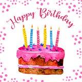Molde do projeto de cartão do aniversário com bolo, velas, decorações com cumprimento Ilustração tirada mão do esboço da aquarela ilustração do vetor