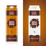 Molde do projeto de empacotamento do creme de café Pacote de creme do produto isolado Saco líquido do alimento do café para o caf Imagens de Stock Royalty Free