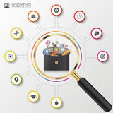 Molde do projeto de Infographic Caso criativo do negócio Círculo colorido com ícones Vetor Imagens de Stock Royalty Free