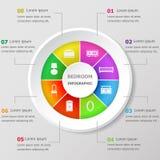 Molde do projeto de Infographic com ícones do quarto Fotografia de Stock Royalty Free