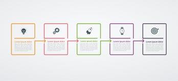Molde do projeto de Infographic com estrutura da etapa O conceito do negócio com 5 opções remenda ou pisa Diagrama de bloco, gráf ilustração stock