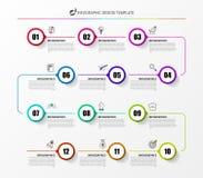 Molde do projeto de Infographic Conceito do espaço temporal com 12 etapas ilustração stock