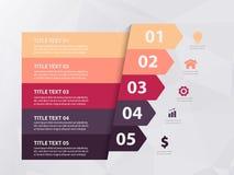 Molde do projeto de Infographic, conceito do negócio com 5 etapas ou opções imagens de stock