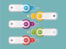 Molde do projeto de Infographic, conceito do neg?cio com 5 etapas ou op??es, foto de stock