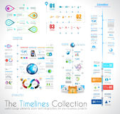 Molde do projeto de Infographic do espaço temporal com etiquetas de papel Fotografia de Stock