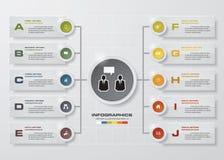 Molde do projeto de Infographic e conceito do negócio com 10 opções, porções, etapas ou processos Foto de Stock Royalty Free