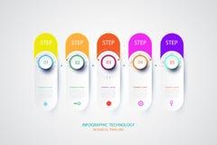 Molde do projeto de Infographics com etiqueta e tecnologia do papel 3D Fotos de Stock