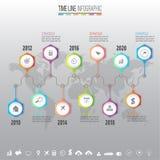 Molde do projeto de Infographics do espaço temporal com os ícones ajustados Imagens de Stock Royalty Free