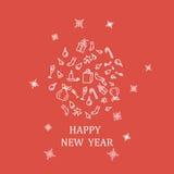 Molde do projeto do ano novo feliz 2017, composição no formulário sob a forma de uma bola, minimalismo Fotografia de Stock Royalty Free
