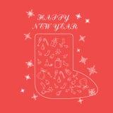 Molde do projeto do ano novo feliz 2017, composição sob a forma de uma sapata, minimalismo Grupo temático da garatuja da estação  Imagens de Stock