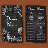 Molde do projeto do café Cartão tirado mão da sobremesa Grupo de molde do menu do restaurante para a identidade corporativa Imagens de Stock Royalty Free