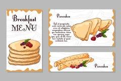Molde do projeto do café Cartão tirado mão da sobremesa Grupo de molde do menu do restaurante para a identidade corporativa Imagens de Stock