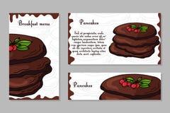 Molde do projeto do café Cartão tirado mão da sobremesa Grupo de molde do menu do restaurante para a identidade corporativa Fotografia de Stock Royalty Free