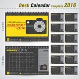 Molde do projeto do calendário de mesa 2016 para a fotografia Fotografia de Stock