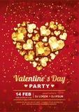 Molde do projeto do cartaz do partido do dia de Valentim Coração da gema do ouro no fundo vermelho Imagem de Stock Royalty Free