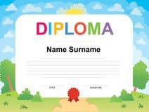 Molde do projeto do fundo do certificado do diploma das crianças Fotos de Stock Royalty Free