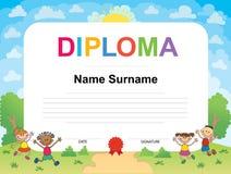 Molde do projeto do fundo do certificado do diploma das crianças Fotografia de Stock Royalty Free