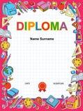 Molde do projeto do fundo do certificado do diploma das crianças Imagem de Stock